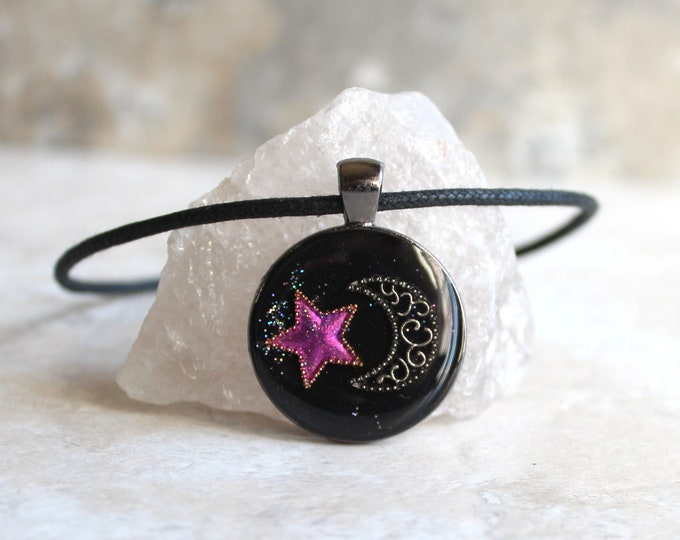 star and moon necklace, crescent moon, purple star, celestial jewelry, star necklace, unique gift, cord necklace, outer space jewelry