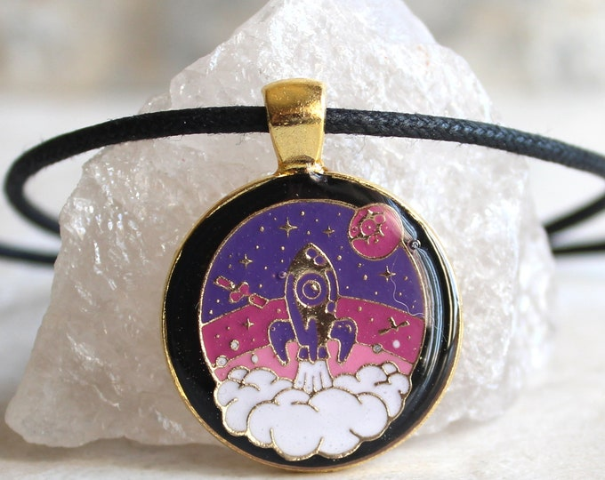 spaceship necklace, rocket ship, space exploration, kawaii jewelry, kawaii necklace, cord necklace, unique gift, outer space jewelry