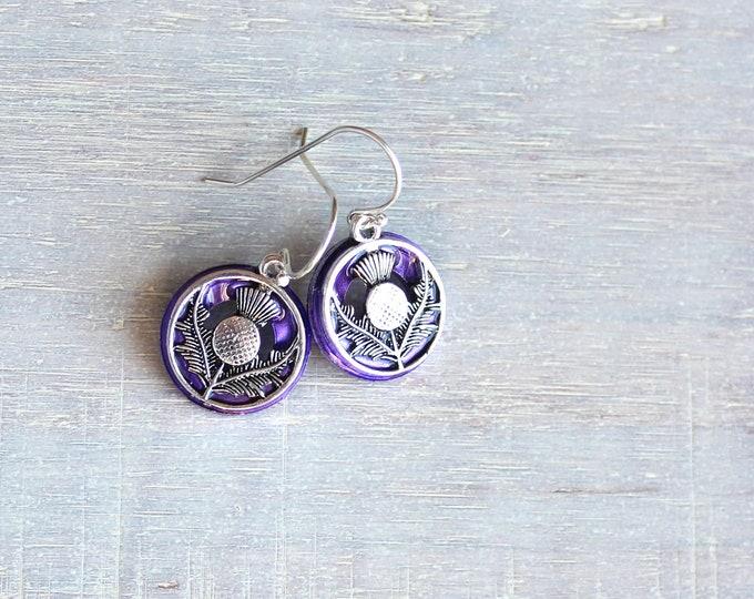 purple Scottish thistle earrings, flower dangle earrings, Scottish jewelry