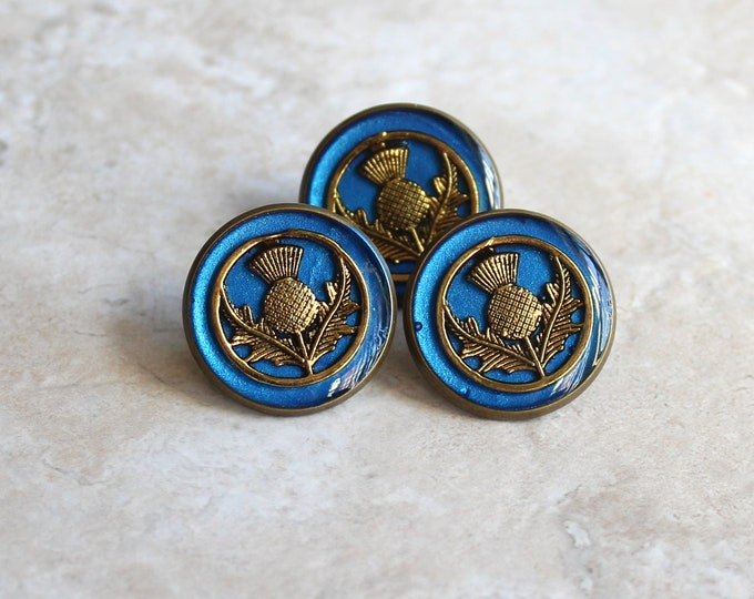 blue and gold Scottish thistle tie tack, lapel pin, mens jewelry, Scottish jewelry, floral pin, Scottish wedding, unique gift