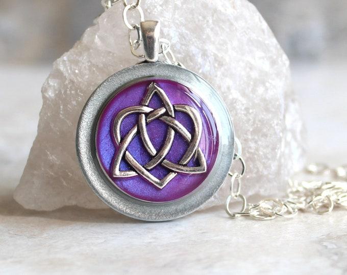 lavender Celtic sister knot necklace, celtic knot jewelry, triquetra necklace, druid jewelry, sister gift, best friend, unique gift