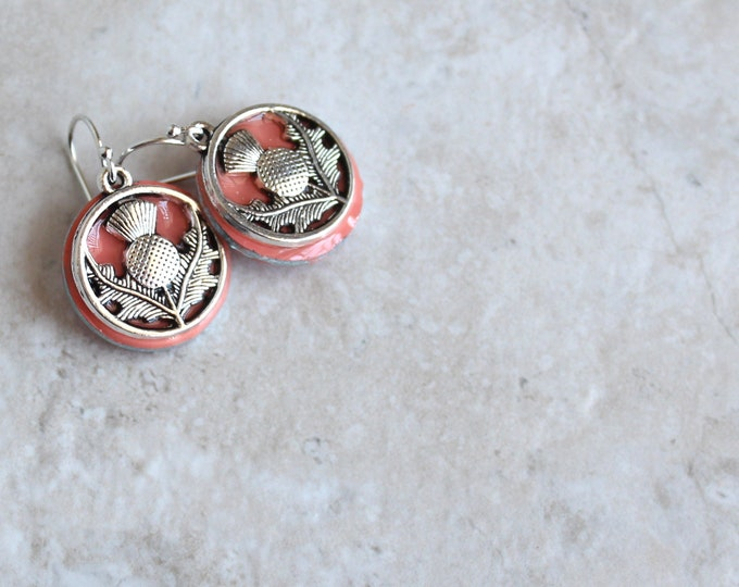 coral Scottish thistle earrings, floral earrings, Scottish jewelry, unique gift, celtic jewelry, celtic earrings, ready to ship