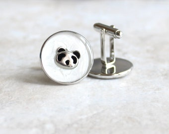 panda bear cufflinks, giant panda, mens jewelry, wedding jewelry, formal wear, novelty cufflinks, suit style, mens fashion, unique gift