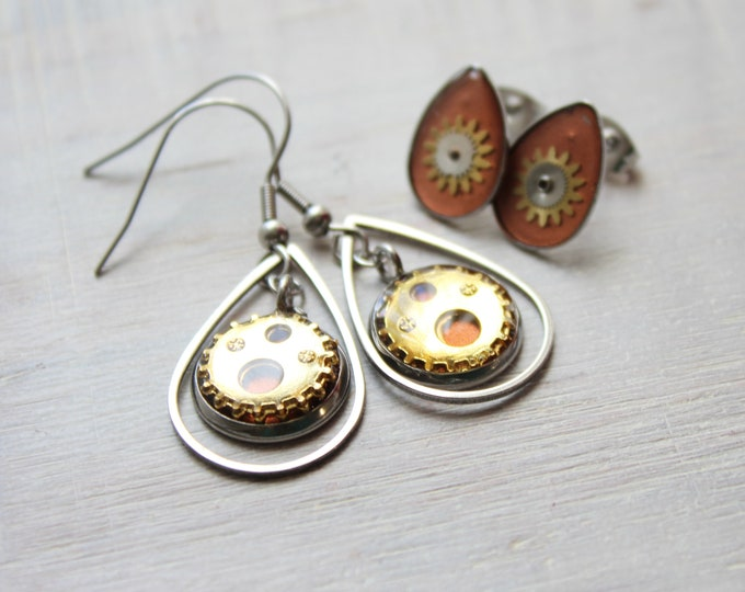 copper and gold steampunk earrings on stainless steel ear wires paired with watch part teardrop post earrings