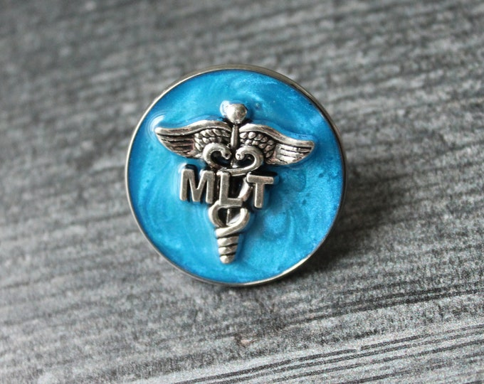 Medical Lab Technician pin, MLT pinning ceremony, white coat ceremony, dark blue, large