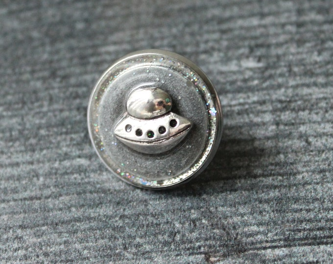 flying saucer tie tack, ufo lapel pin, sparkly gray, unique gift, tie tack