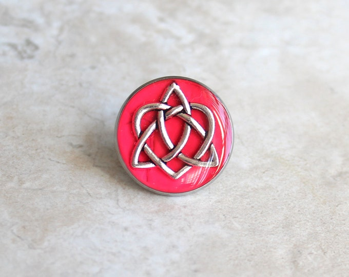 bright pink celtic knot tie tack, lapel pin, triquetra tie tack, celtic jewelry, mens jewelry, wedding party, groomsmen gift, groom gift