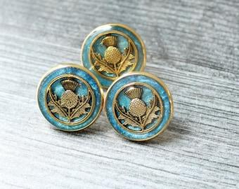 Scottish thistle pin, blue, lapel pin, tie tack, mens jewelry, unique gift