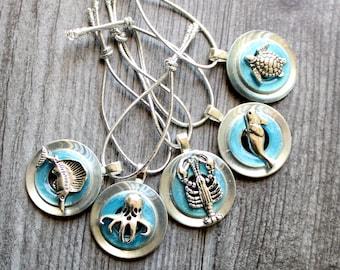 ocean themed tree ornaments, set of 5, miniature tree, summer ornaments, sea turtle, swordfish, seal, octopus, lobster