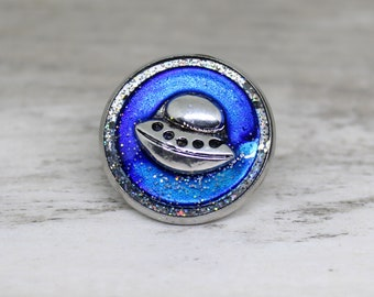 UFO tie tack, flying saucer lapel pin, sparkly royal blue