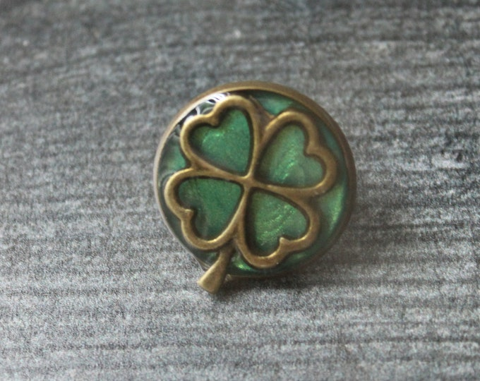 four leaf clover pin, lapel pin, tie tack, unique gift, irish jewelry, mens gift, mens jewelry, good luck, st patricks day