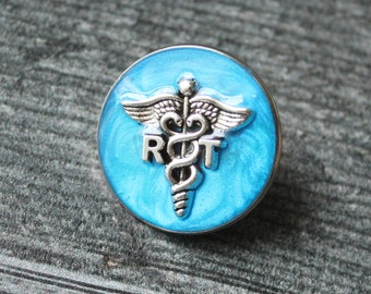 respiratory therapy pin, RT pinning ceremony, white coat ceremony, respiratory therapist, dark blue, large