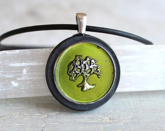 oak tree necklace, tree pendant, nature necklace, unique gift, mens jewelry, boyfriend gift, wiccan jewelry, forest necklace