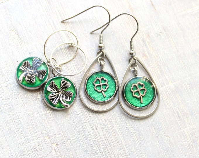 four leaf clover earrings, 2 pairs, gift set