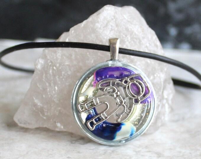 astronaut necklace, outer space pendant, galaxy necklace, mens necklace, unique gift, area 51, celestial pendant