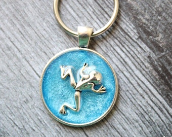frog keychain, blue, nature keyring, unique gift, gift for dad
