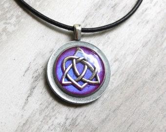 lavender Celtic sister knot necklace, celtic knot jewelry