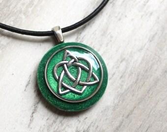 emerald green Celtic sister knot necklace, triquetra pendant