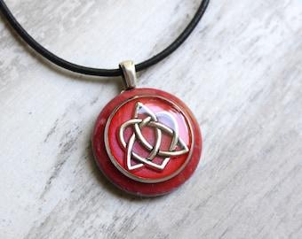rose Celtic sister knot necklace, triquetra pendant