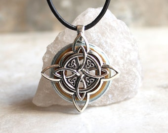dark gold Celtic knot necklace, triquetra necklace, Celtic knot jewelry, mens Irish pendant, boyfriend gift, wiccan necklace, druid necklace