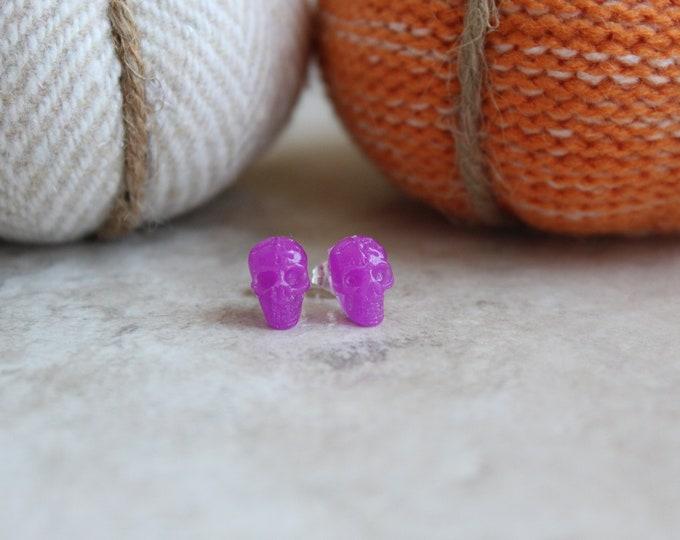purple skull earrings, sterling silver post, glow in the dark, post earrings, Halloween jewelry, Halloween costume, Halloween earrings