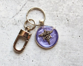 Physician assistant keychain, purple, PA keyring, PA gift