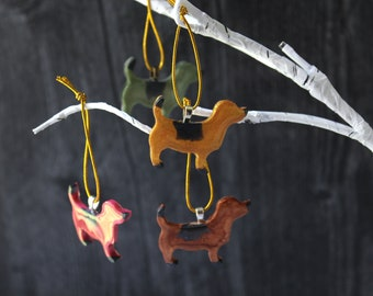 dog ornaments, set of 4, mini tree, table top tree, dog lover, dog decor