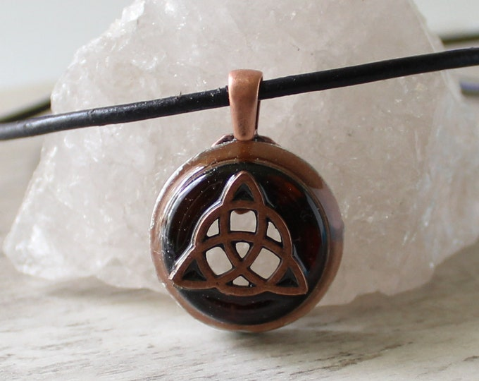triquetra necklace, Celtic knot jewelry, mens Irish pendant, boyfriend gift, wiccan necklace