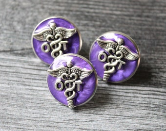 occupational therapy pin, OT pinning ceremony, white coat ceremony, occupational therapist, dark purple