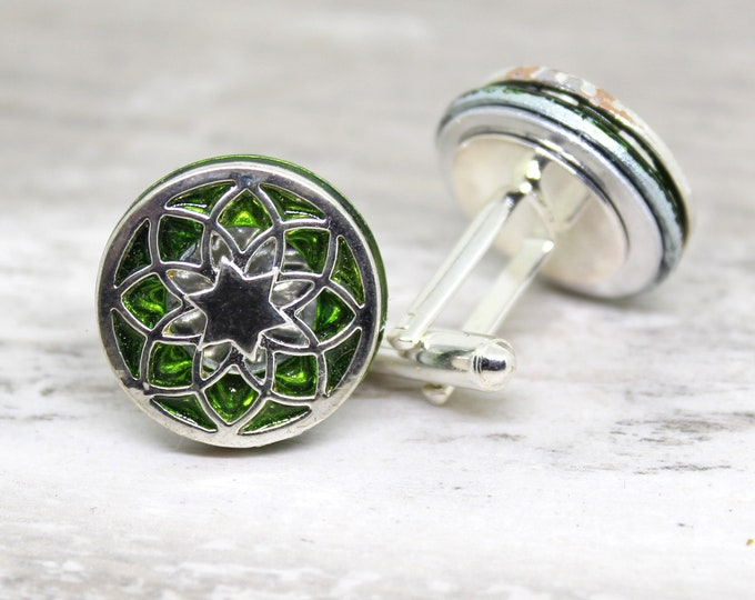 seed of life cufflinks, forest green
