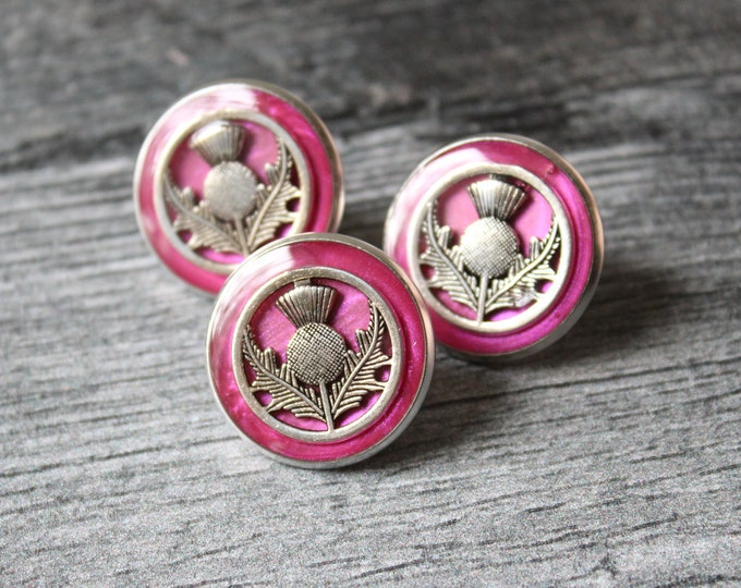 Scottish thistle pin, lapel pin, tie tack, Scottish wedding, nature jewelry, mens jewelry, unique gift, pink and silver