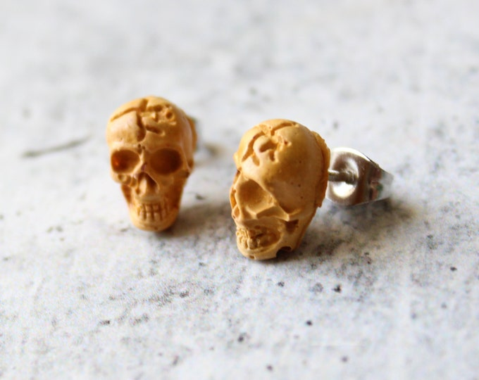 skull earrings with sterling silver posts, yellow, unique gift, goth jewelry