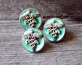 Physician assistant pin, bright green, PA pinning ceremony, white coat ceremony, PA lapel pin, graduation gift