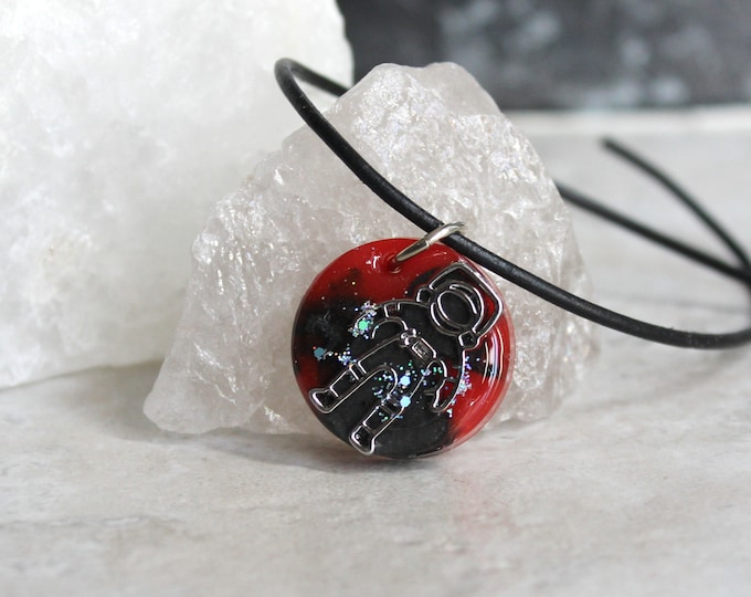 red and black astronaut necklace, spaceman necklace, outer space pendant, explorer necklace, unique gift