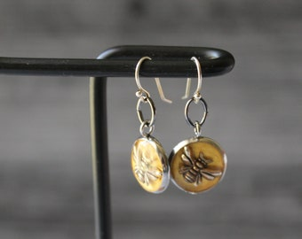 bee earrings with sterling silver ear wires, honeybee jewelry, unique gift