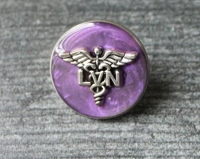 licensed vocational nurse pin, LVN pinning ceremony, white coat ceremony, heather purple, large