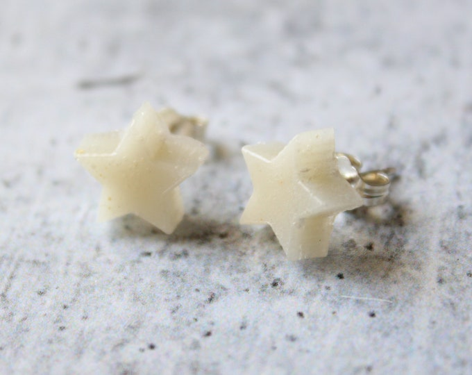 pearl white star earrings with sterling silver posts, celestial jewelry, unique gift