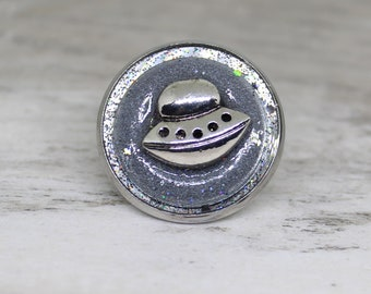 flying saucer tie tack, ufo lapel pin, sparkly gray