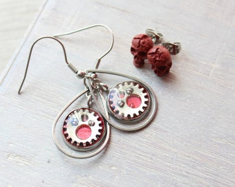 steampunk gear earrings on stainless steel ear wires paired with skull post earrings