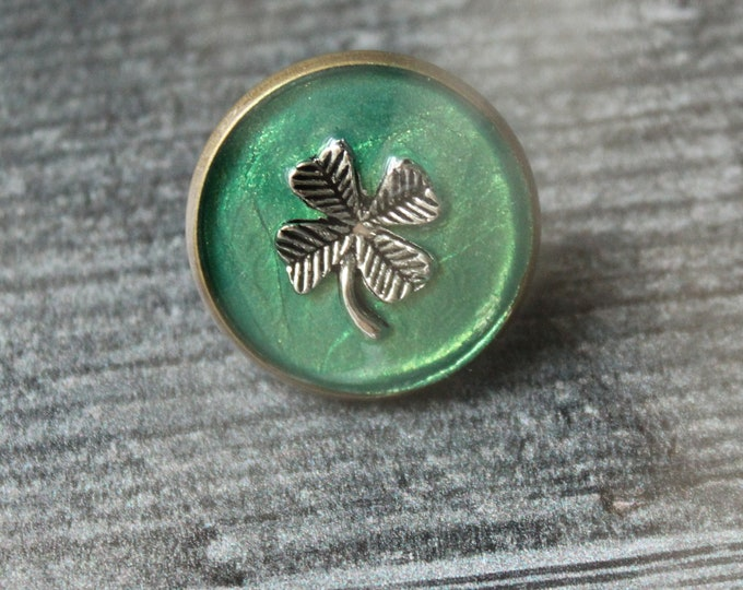 four leaf clover pin, lapel pin, tie tack, unique gift, St. Patrick's Day, good luck charm