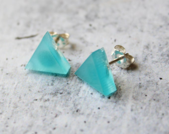 blue glow in the dark triangle earrings with sterling silver posts, geometric jewelry, unique gift