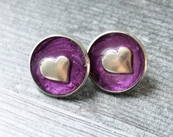 heart pin, lapel pin, tie tack, purple, romantic gift