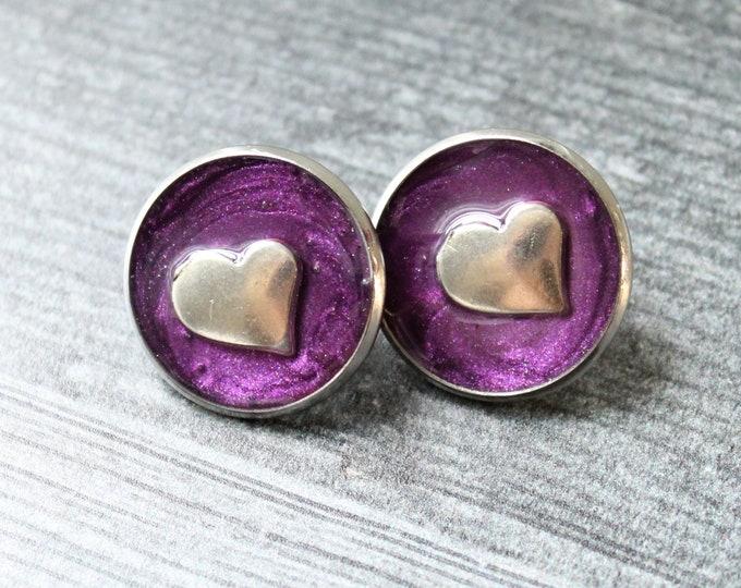 heart pin, lapel pin, tie tack, purple, romantic gift