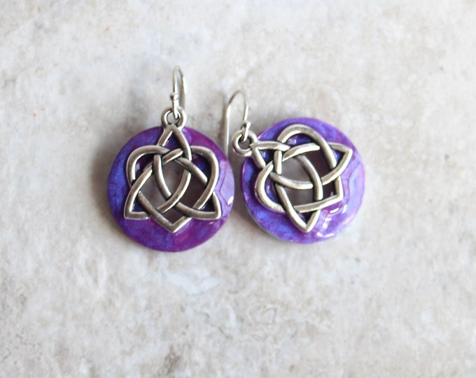 lavender Celtic sister knot earrings, Celtic jewelry, sister gift, friendship jewelry, unique gift, druid jewelry, wiccan earrings