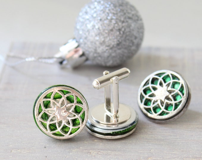 seed of life cufflinks and lapel pin gift set, green, mens jewelry