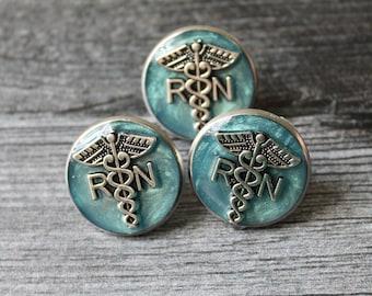 registered nurse pin, RN pinning ceremony, nurse graduation gift, white coat ceremony, graduation gift, sky blue