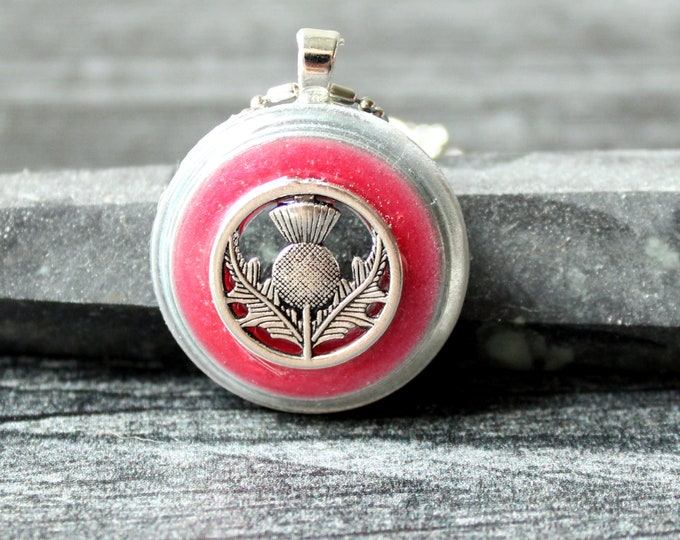 Scottish thistle necklace, watermelon red, unique gift, mothers day gift, flower jewelry, nature necklace