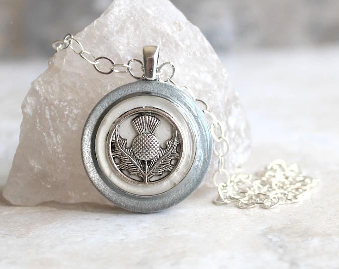 white Scottish thistle necklace, Scotland jewelry, thistle pendant, unique gift, floral jewelry, Scottish wedding, Celtic jewelry
