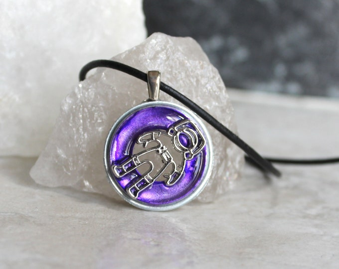 purple astronaut necklace, outer space jewelry, spaceman necklace, galaxy jewelry, unique gift, boyfriend gift, mens necklace