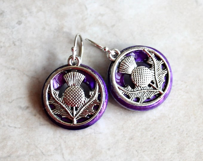 purple Scottish thistle earrings, flower jewelry, gift for woman, wedding jewelry, bridesmaid gift, Scottish wedding, unique gift